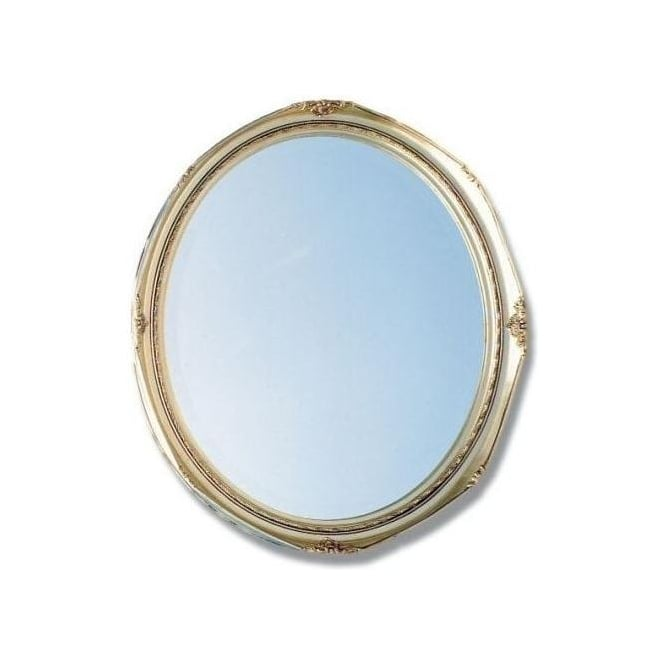 Antique French Style Silver Oval Mirror