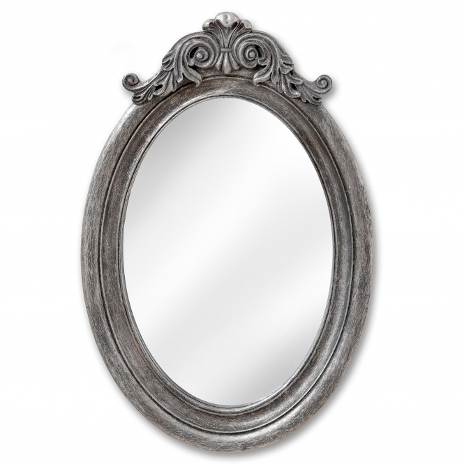 Antique French Style Silver Oval Wall Mirror