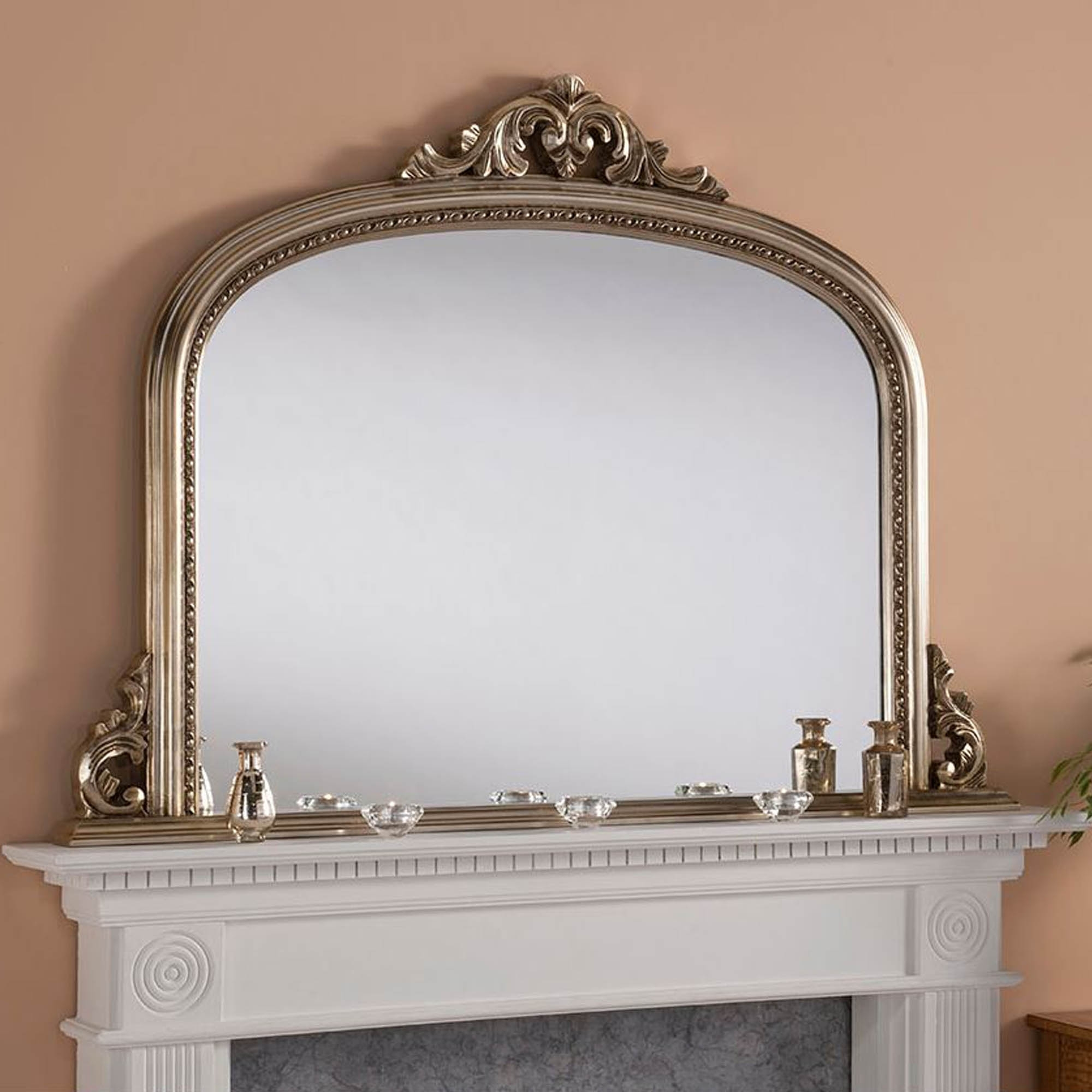Antique French Style Silver Overmantle Mirror Homesdirect365