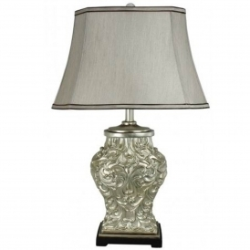 Antique French Style Silver Polyresin Table Lamp