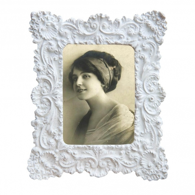 Antique French Style Small White Photo Frame