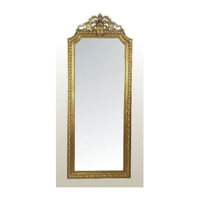 Antique French Style Tall Slim Gold Leaf Mirror