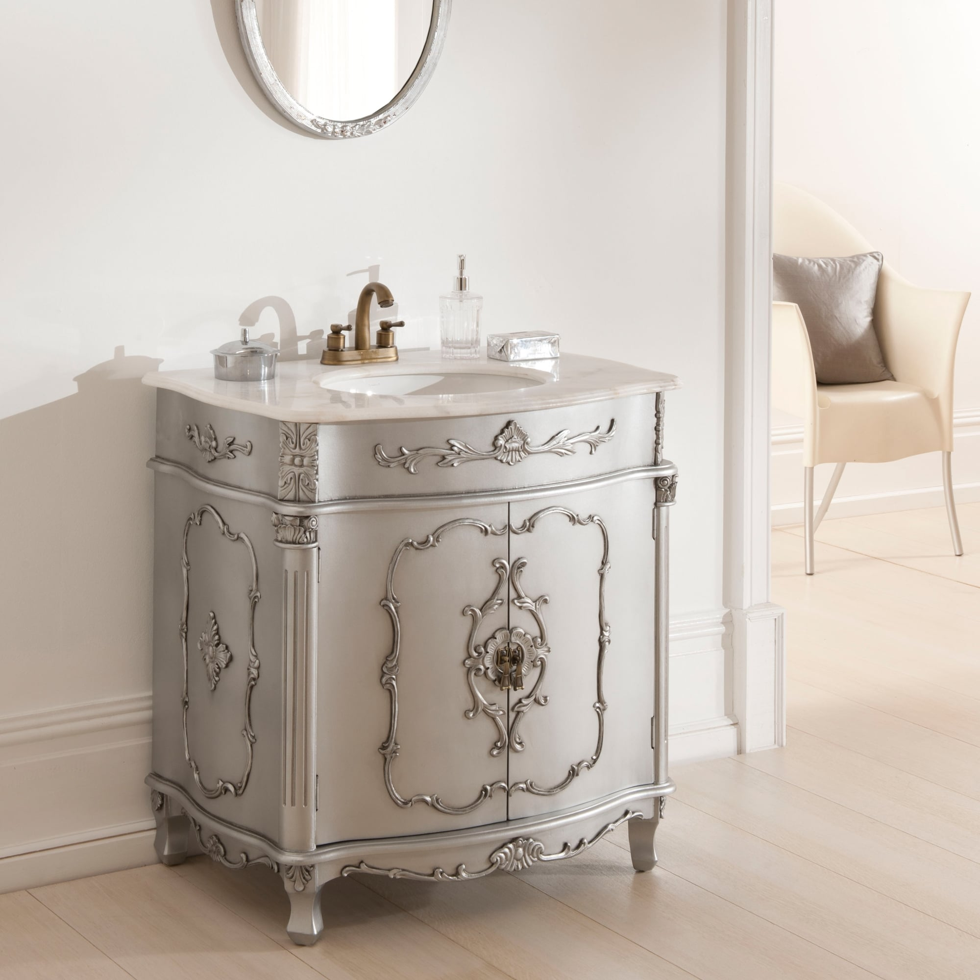 Antique french vanity unit is a wonderful addition to our - Furniture looking bathroom vanities ...