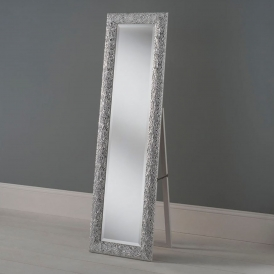 Antique French Style White and Silver Cheval Mirror