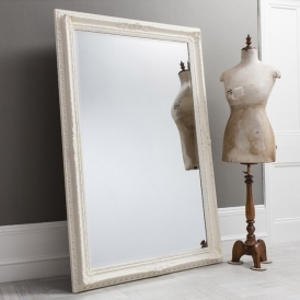 Antique French Style White Buckingham Leaner Mirror