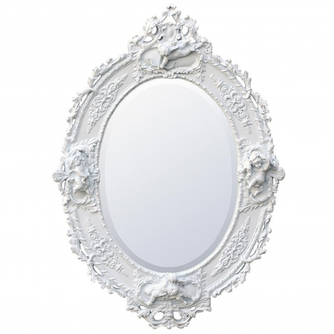 Antique French Style White Chalk Oval Wall Mirror