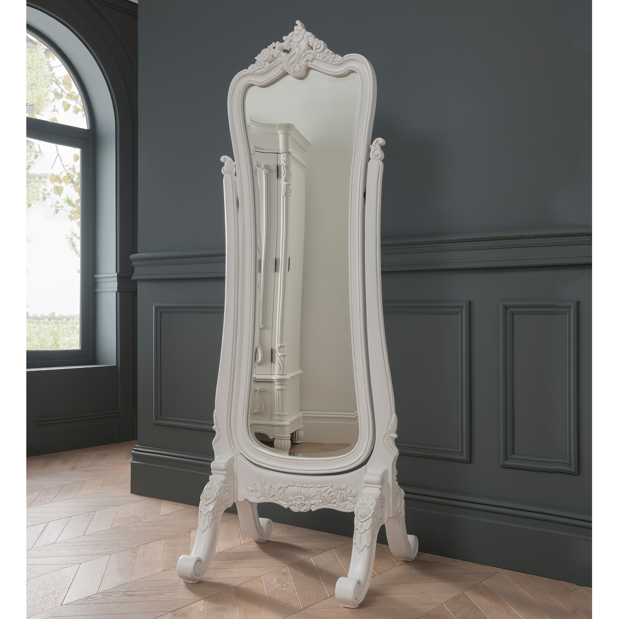 Antique French Style White Finished Cheval Mirror