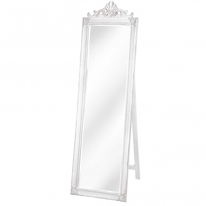 Antique French Style White Full Length Mirror