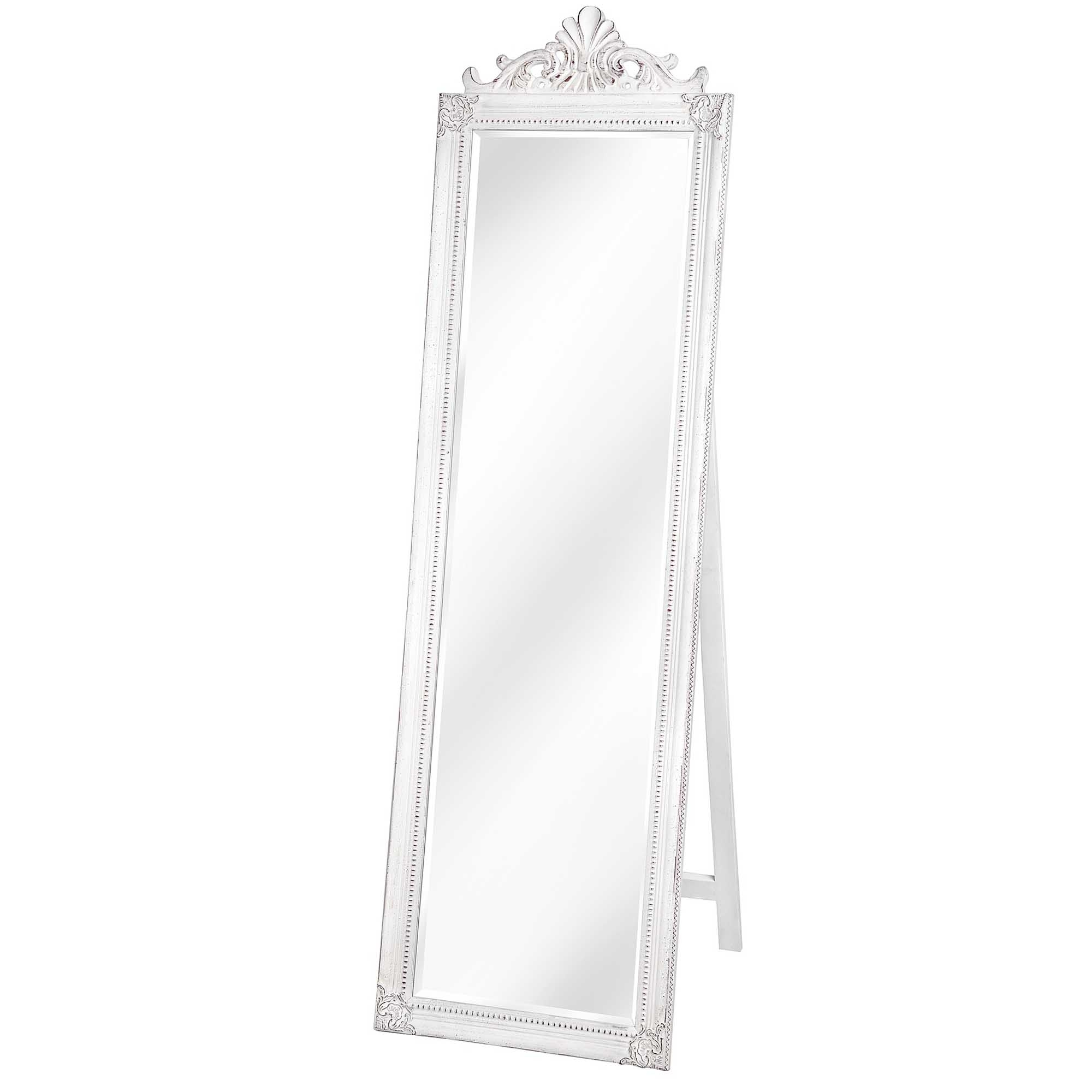 Antique French Style White Full Length Mirror Homesdirect365