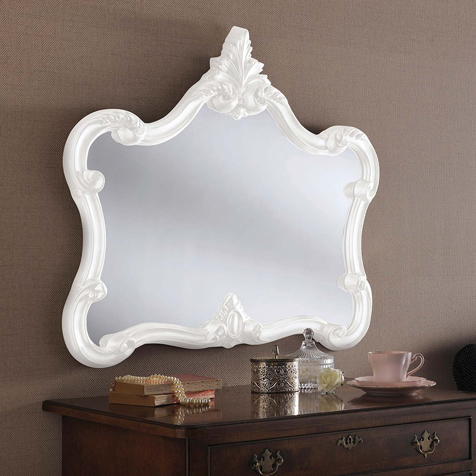 Antique French Style White Ornate Wall Mirror Wall Mirrors