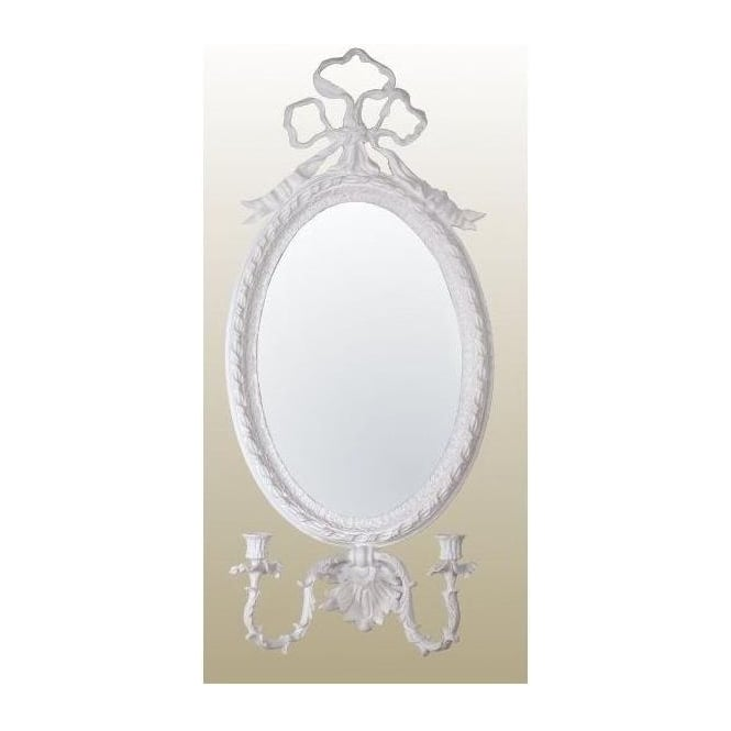 Antique French Style White Oval Wall Mirror