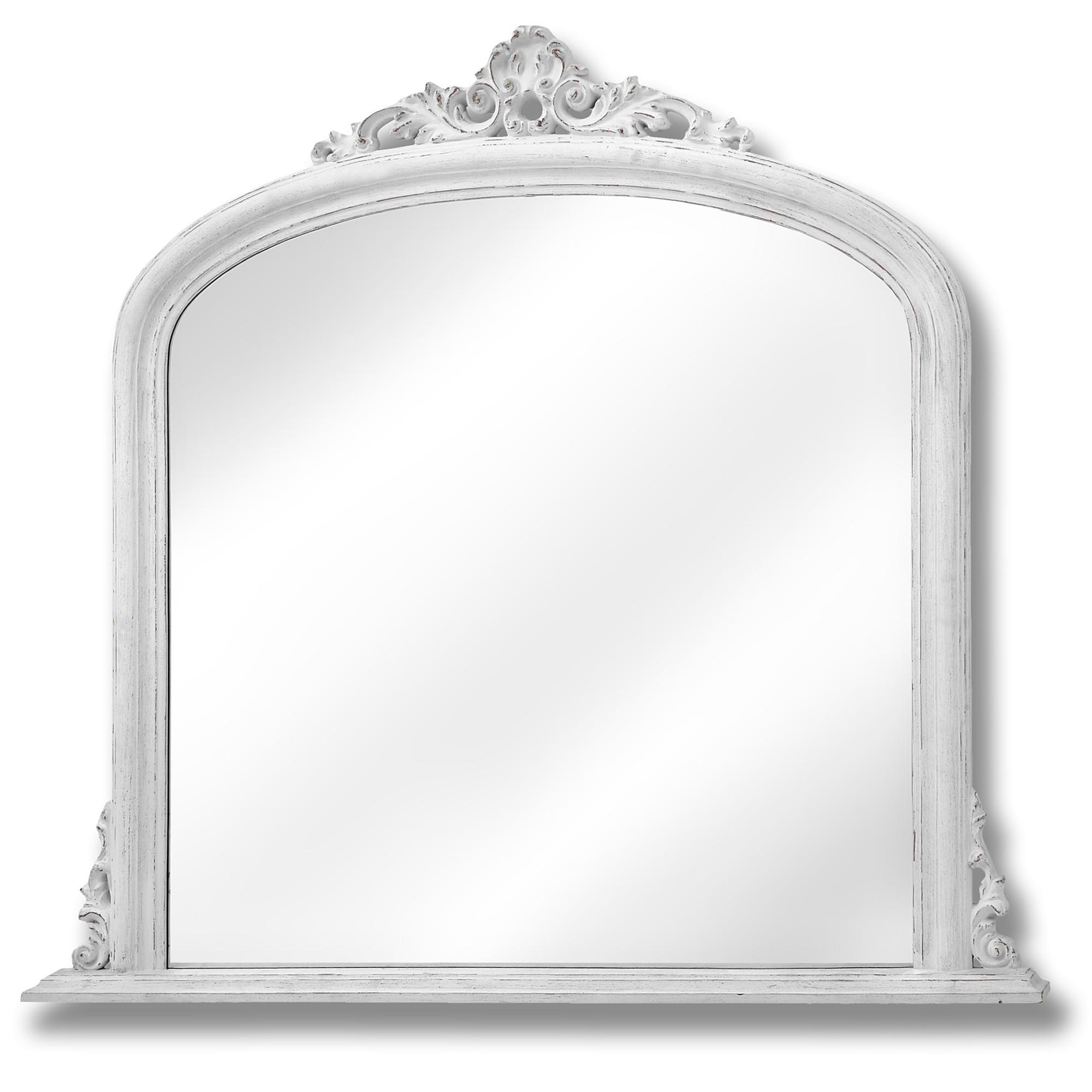 Antique French Style White Overmantel Mirror Homesdirect365