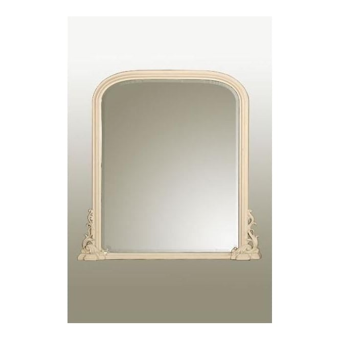 Antique French Style White Overmantle Mirror