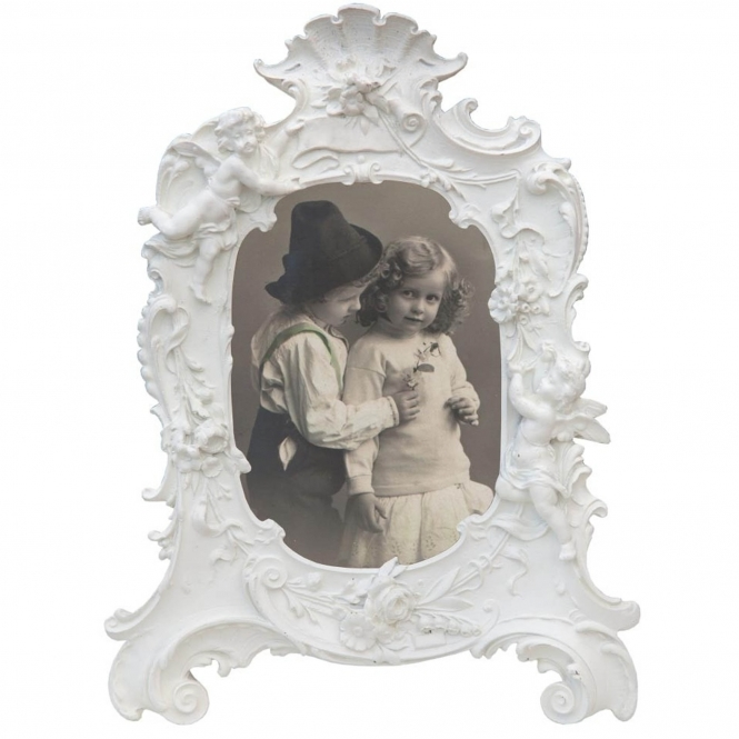Antique French Style White Photo Frame