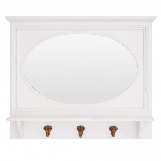 Antique French Style White Whitley Wall Mirror