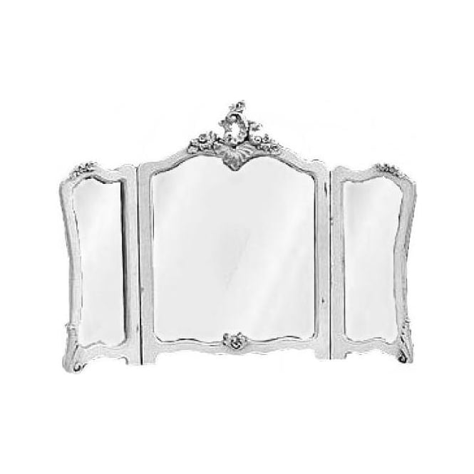 Antique French White Dressing Table Tri-Mirror