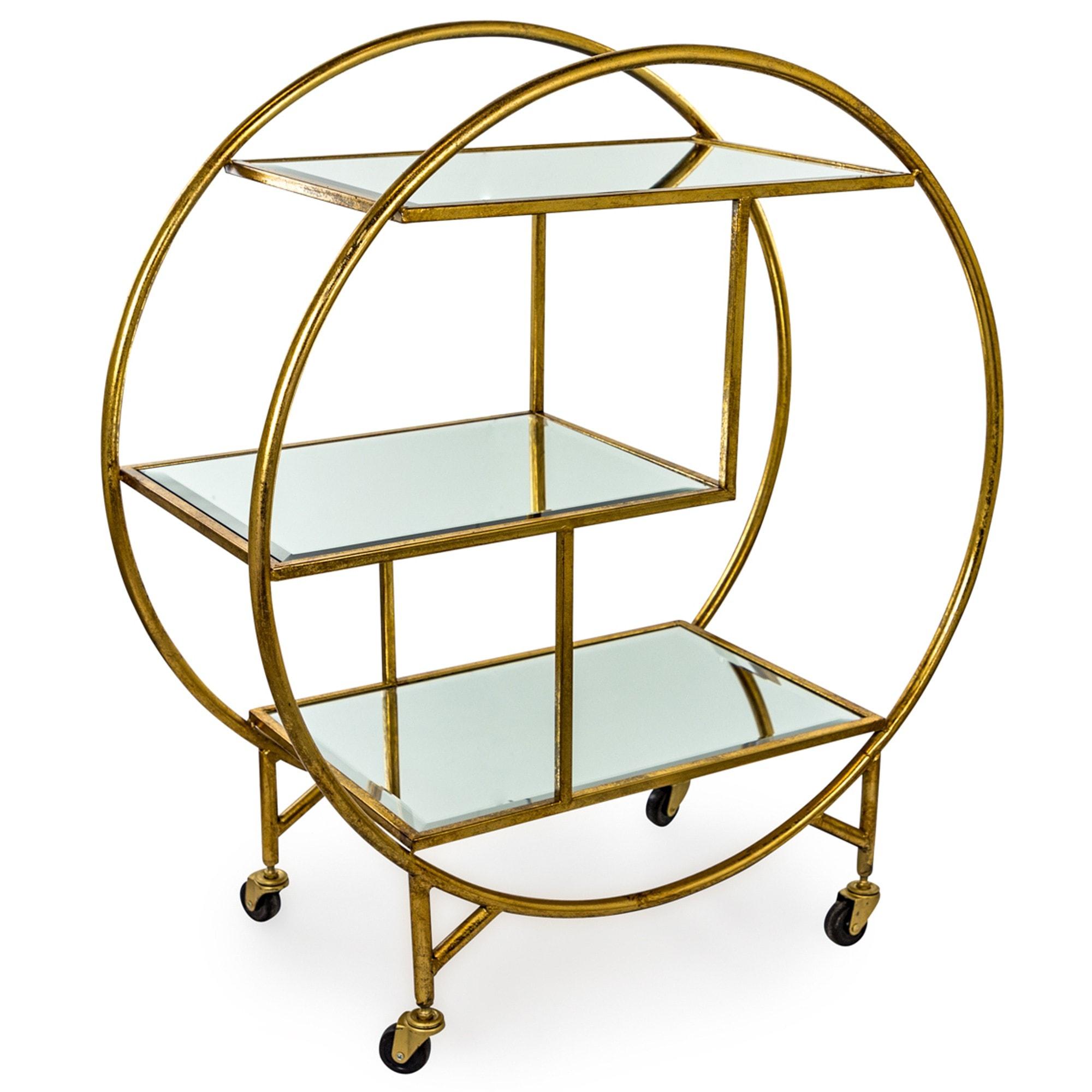 Antique Gold Bronze Leaf Metal Bar Trolley With Mirror Shelves Round Bar Cart Round Drinks Trolley