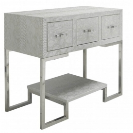 Antique Silver Faux Snakeskin 3 Drawer Console Table