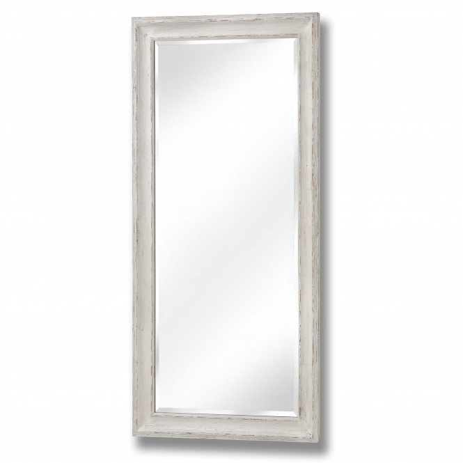 Antique White Large Rectangular Wall Mirror