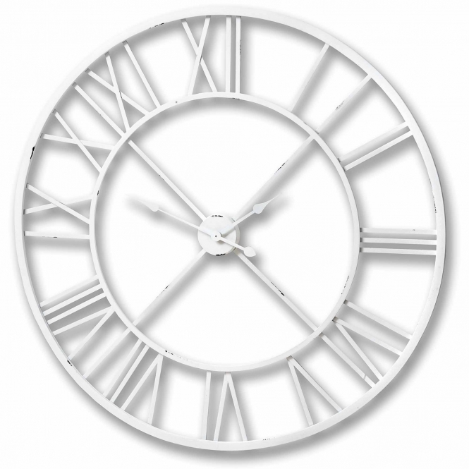 Antique White Metal Frame Round Clock