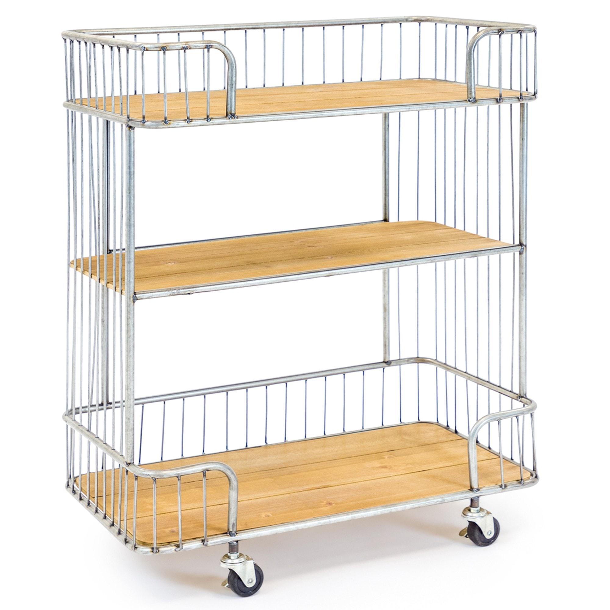 Antiqued Metal And Wood Shelving Unit Bar Cart Portable Shelving