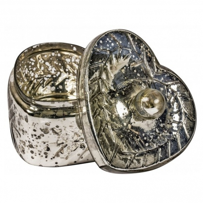 Antiqued Silver Glass Heart Trinket Box