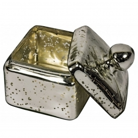 Antiqued Silver Glass Trinket Box Large
