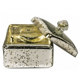 Antiqued Silver Glass Trinket Box Small