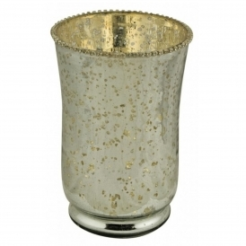 Antiqued Silvered Glass Beaded Vase