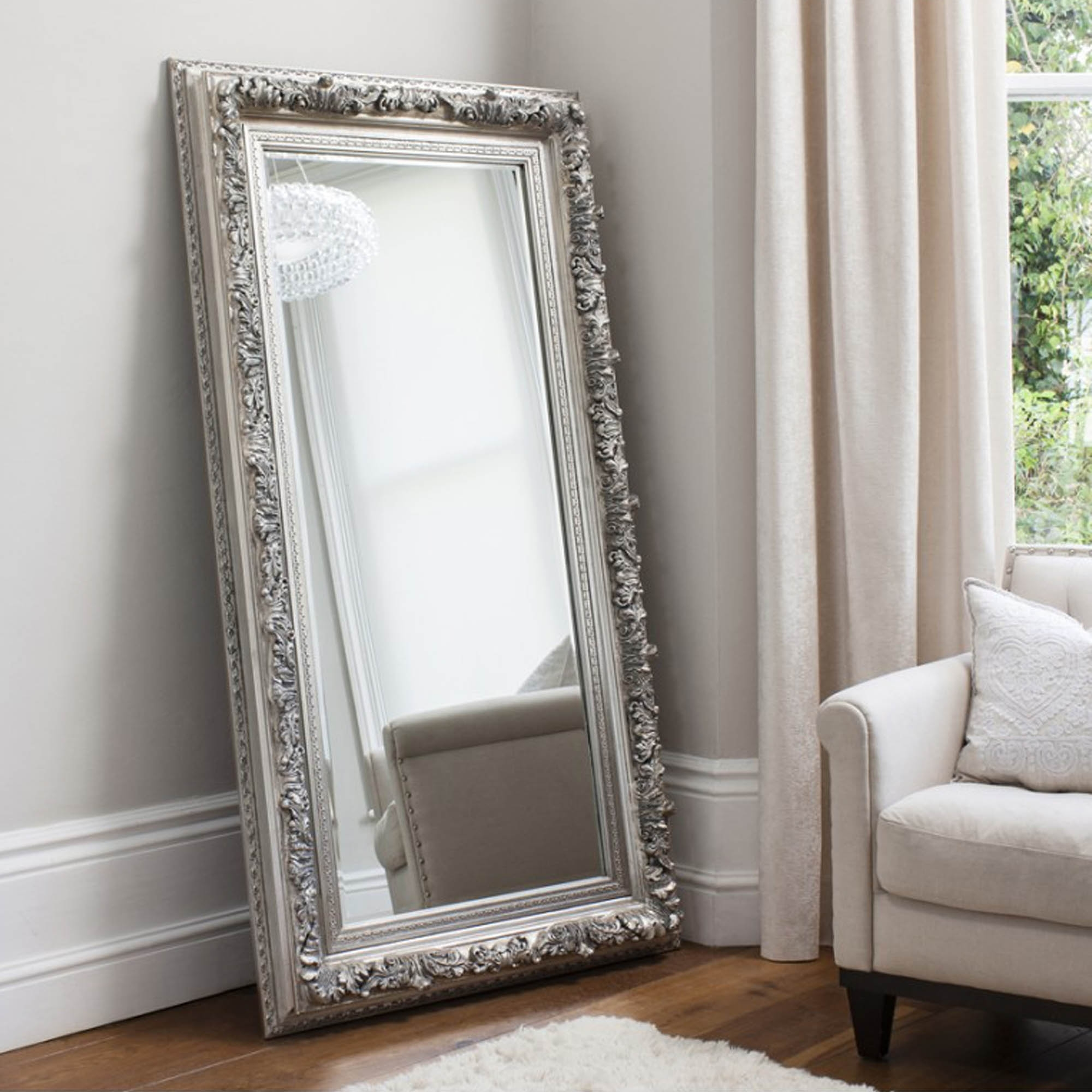 antwerp leaner silver antique french style mirror homesdirec