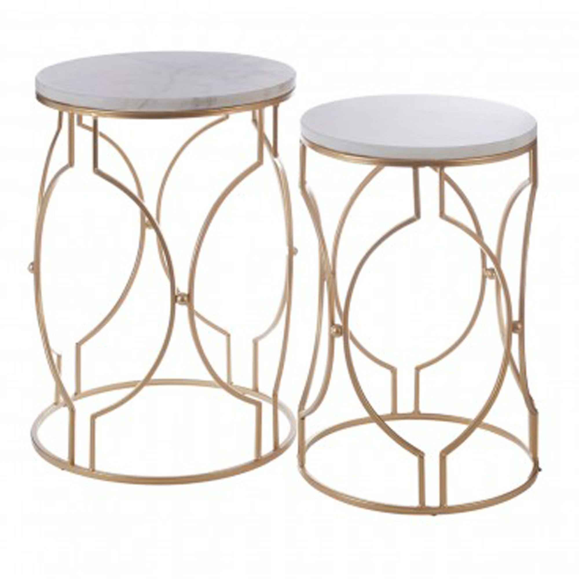 Arcana Set Of 2 Rounded Marble Side Tables Side Tables Marble Table