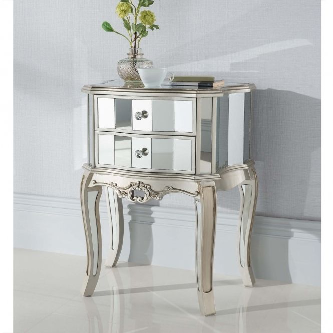Argente Mirrored Antique French Style Bedside Table
