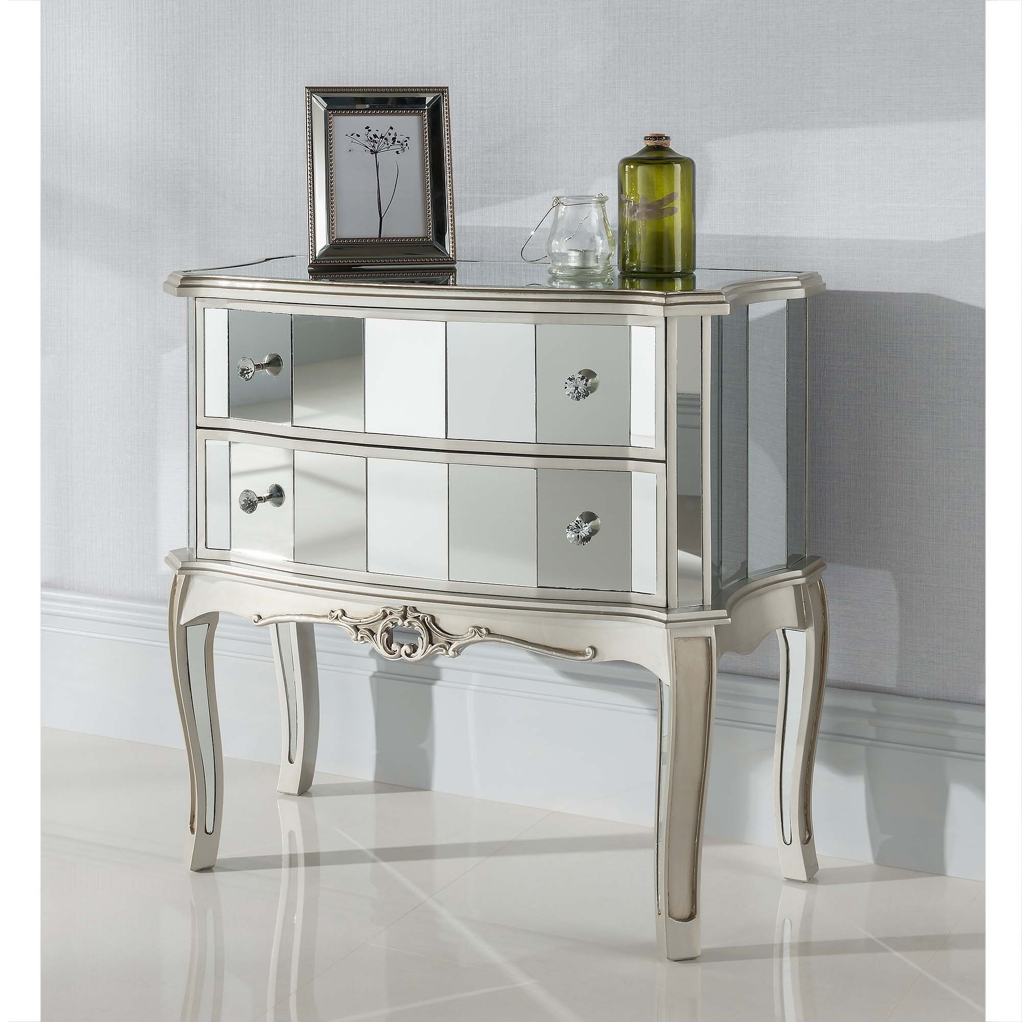 Argente Mirrored Antique French Chest Venetian Glass Furniture