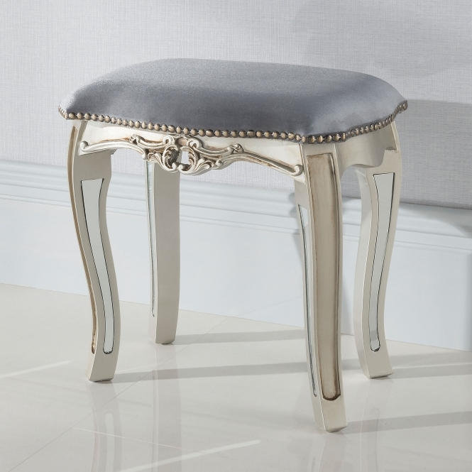 Argente Mirrored Antique French Style Stool