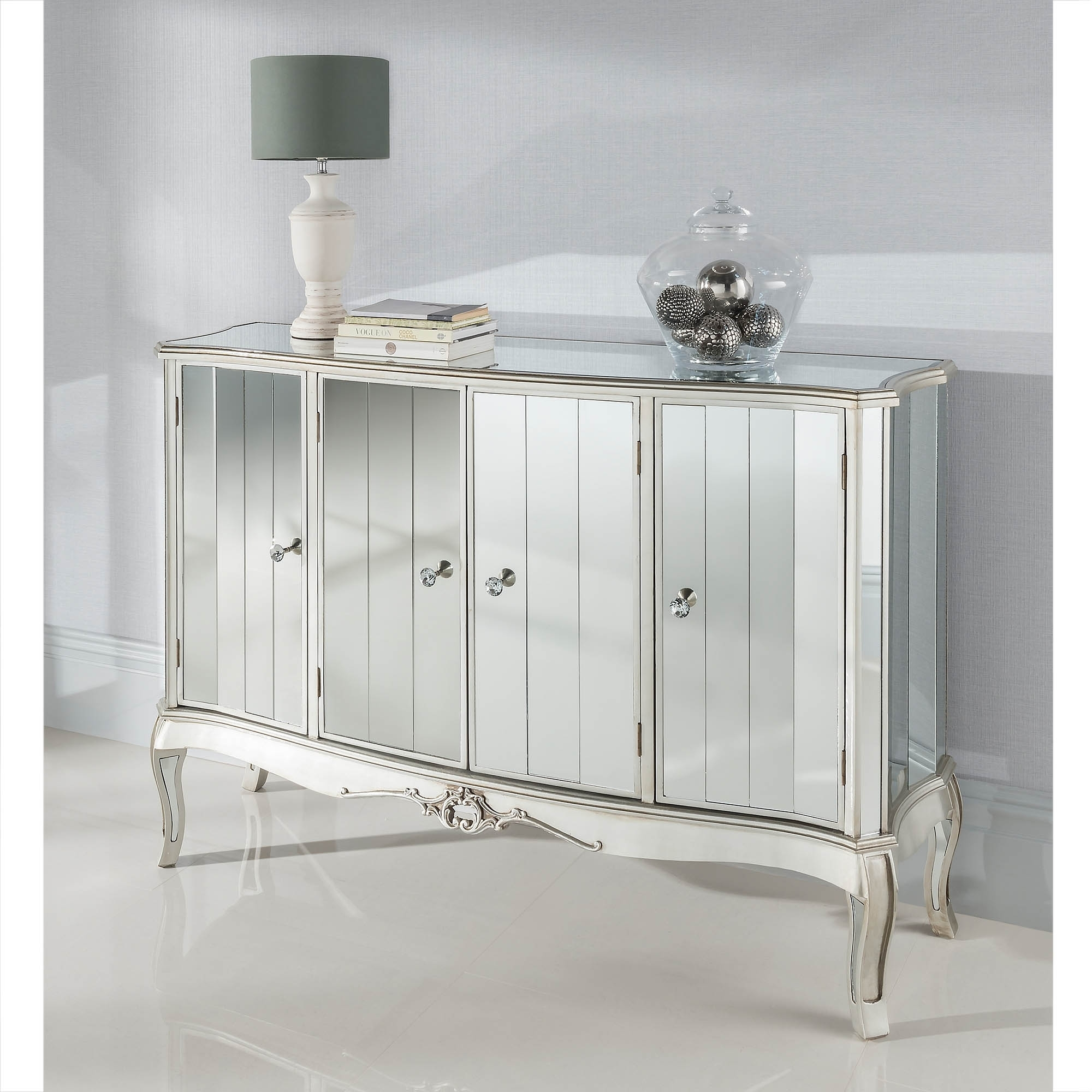 mirrored buffet sideboard argente mirrored four door sideboard mirrored furniture 4157