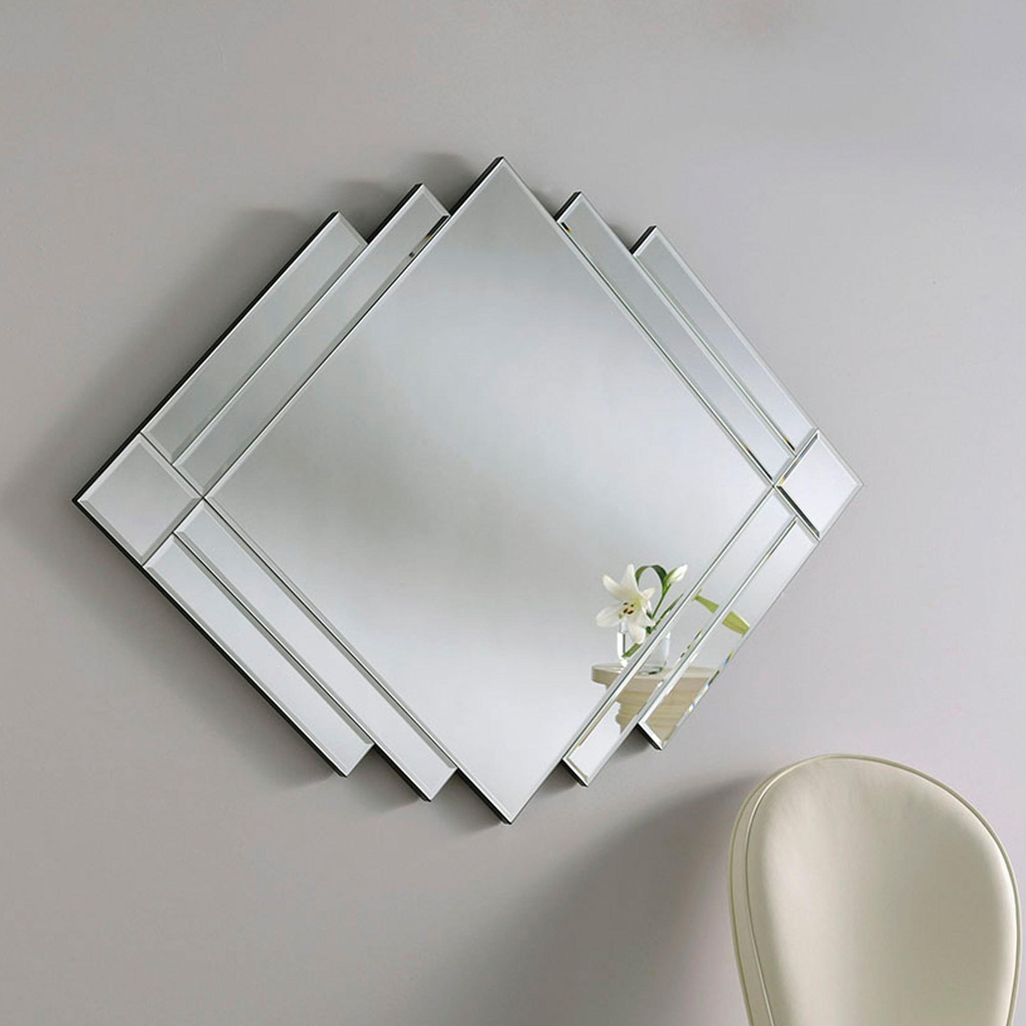 Art Deco Silver Wall Mirror   Contemporary Wall Mirrors