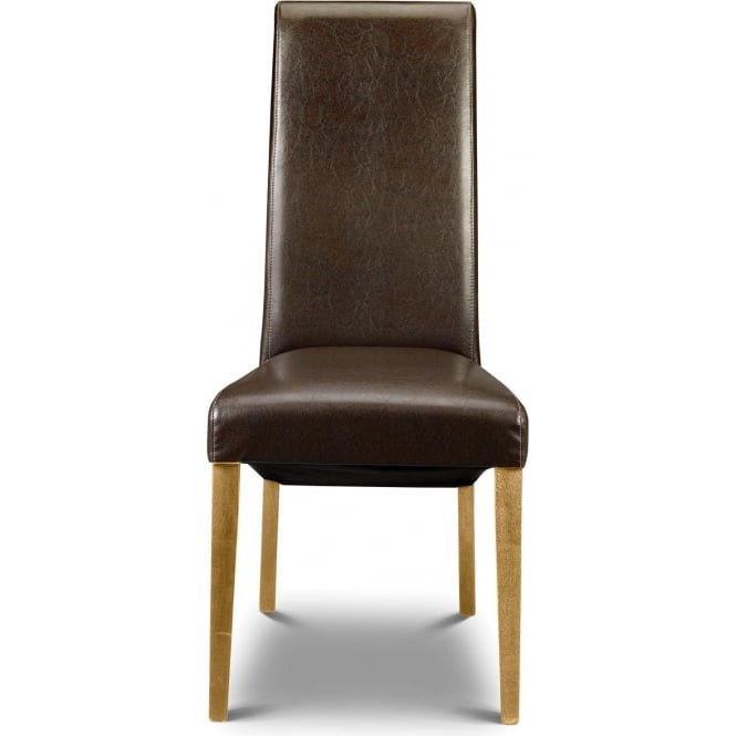 Artemis Chair Beech Leg Brown Faux Leather