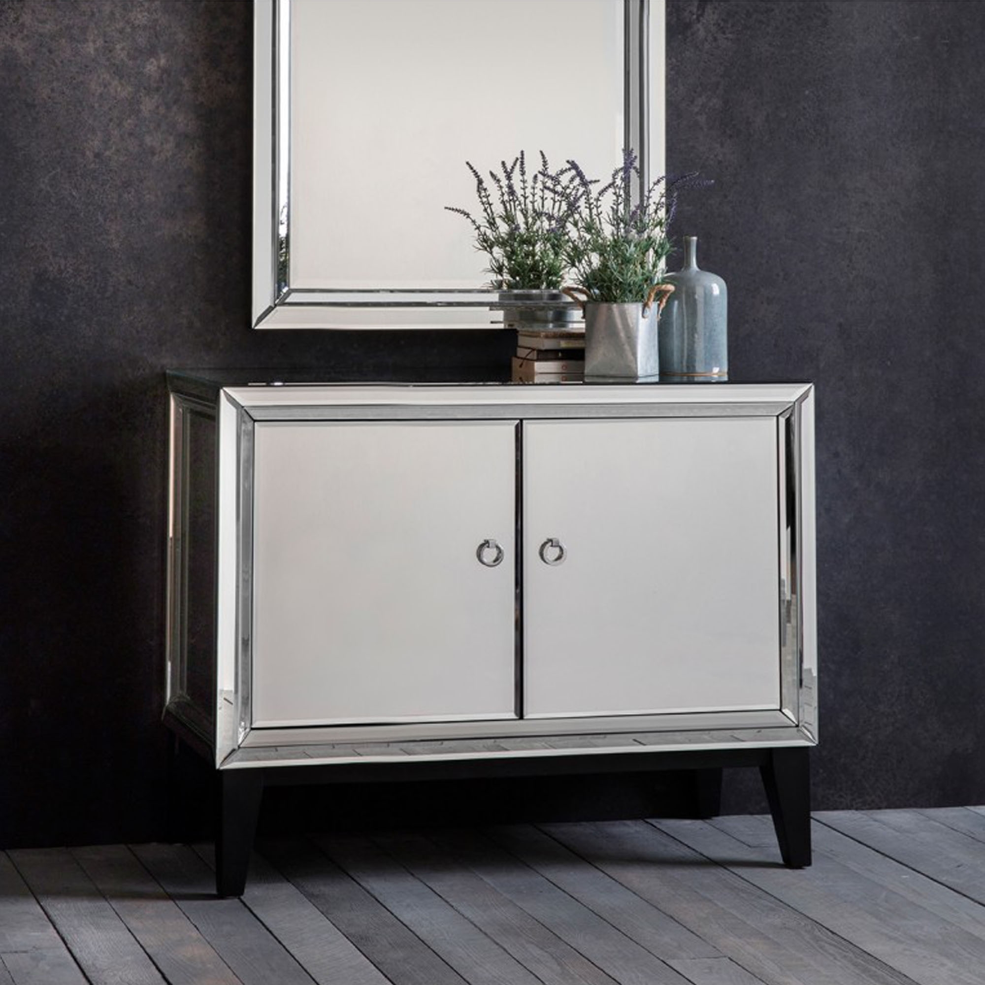 Aster 2 Door Cabinet Mirrored Homesdirect365