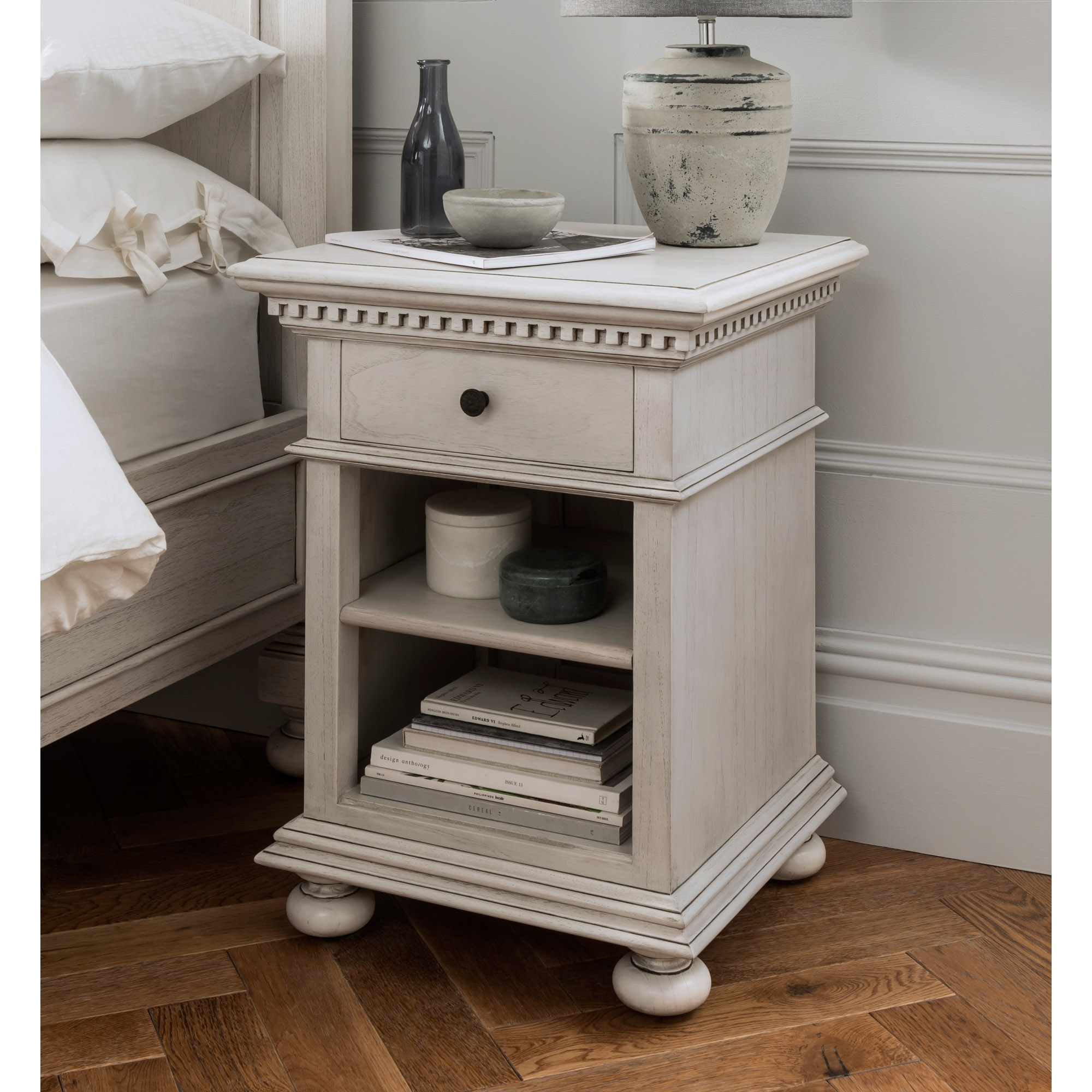 Bakersfield Grey Antique French Style Bedside Table Shabby Chic