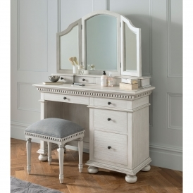 Bakersfield Grey Antique French Style Dressing Table Set