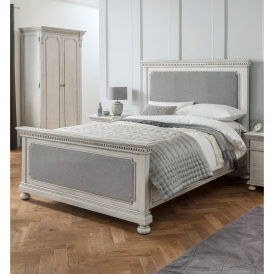 Bakersfield Grey Antique French Style Fabric Bed