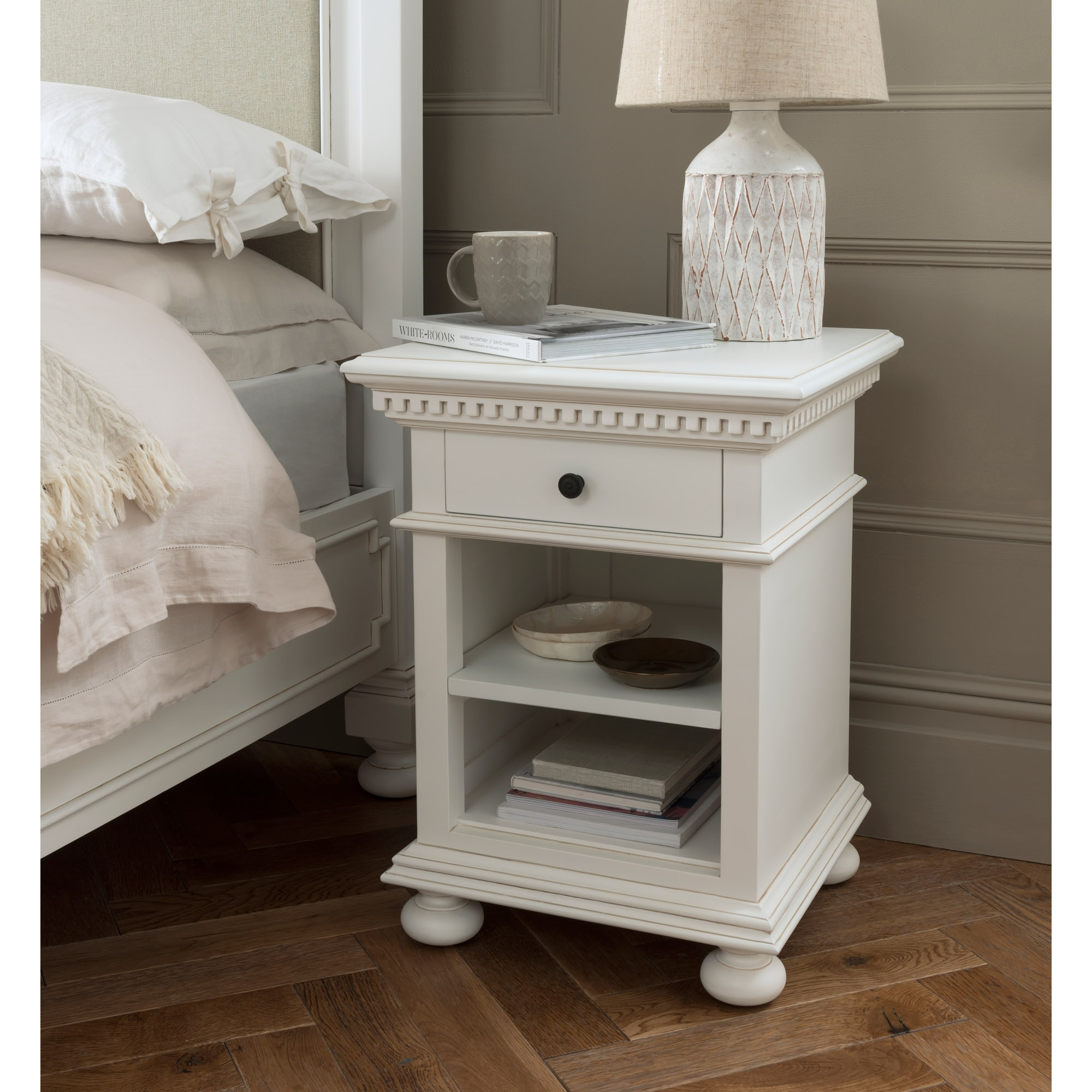 Bakersfield White Antique French Style Bedside Table