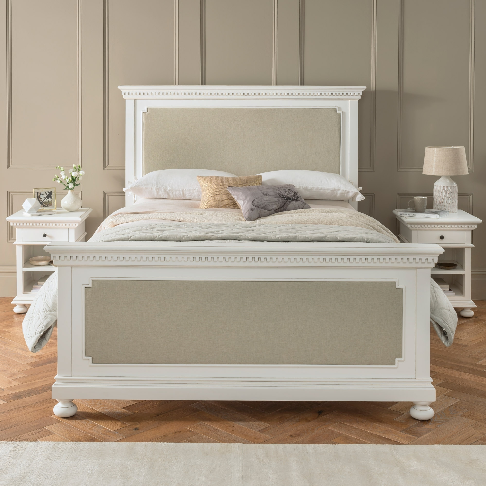 Bakersfield White Antique French Style Fabric Bed French Style Beds