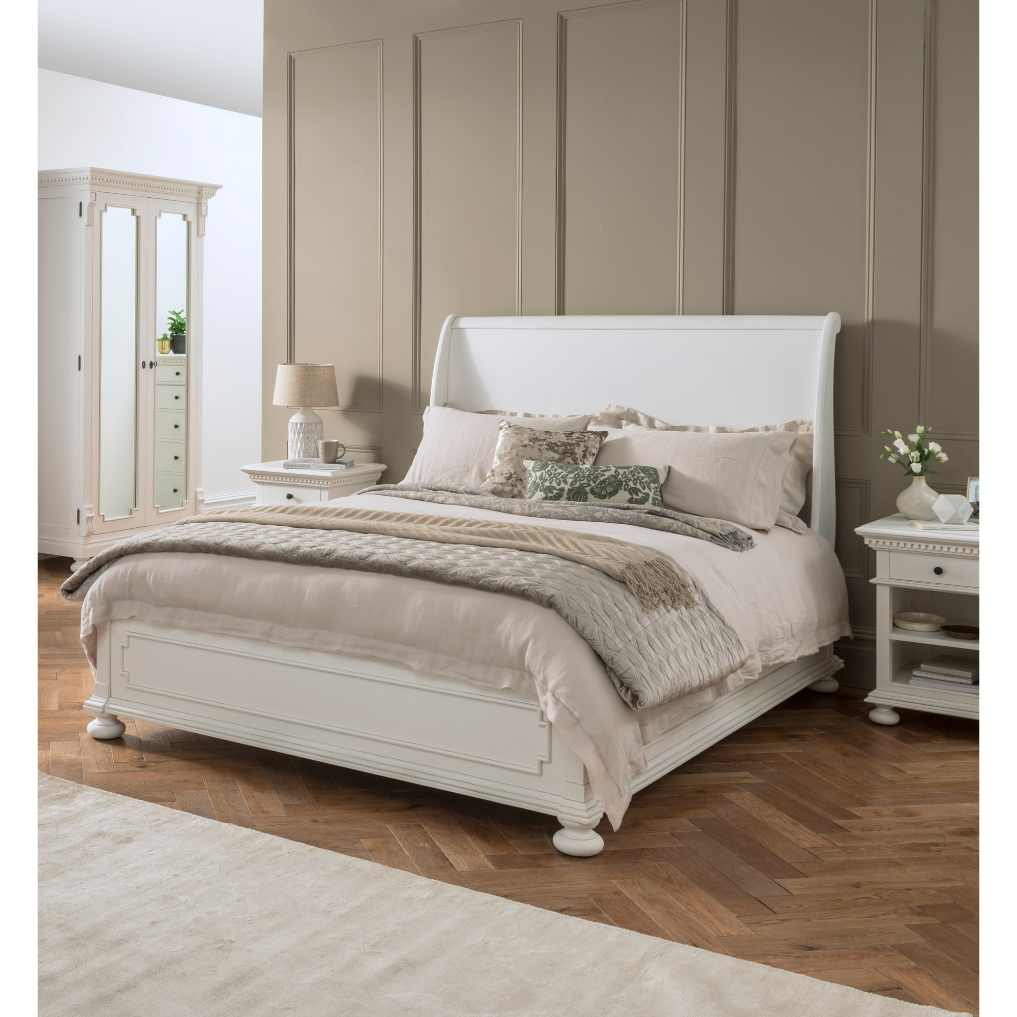 - Bakersfield White Antique French Style Sleigh Bed Shabby Chic