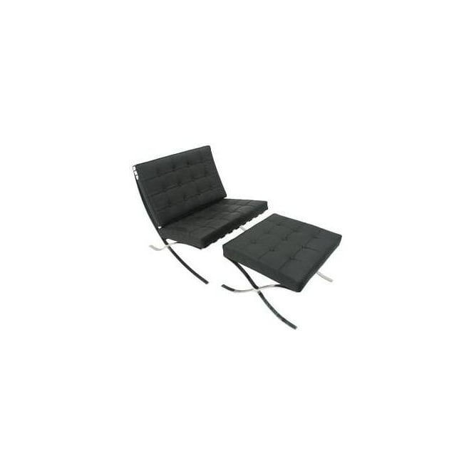 Barcelona Chair & Stool - Black