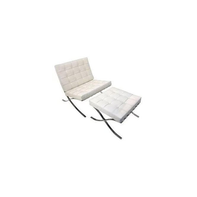 Barcelona Chair & Stool - White
