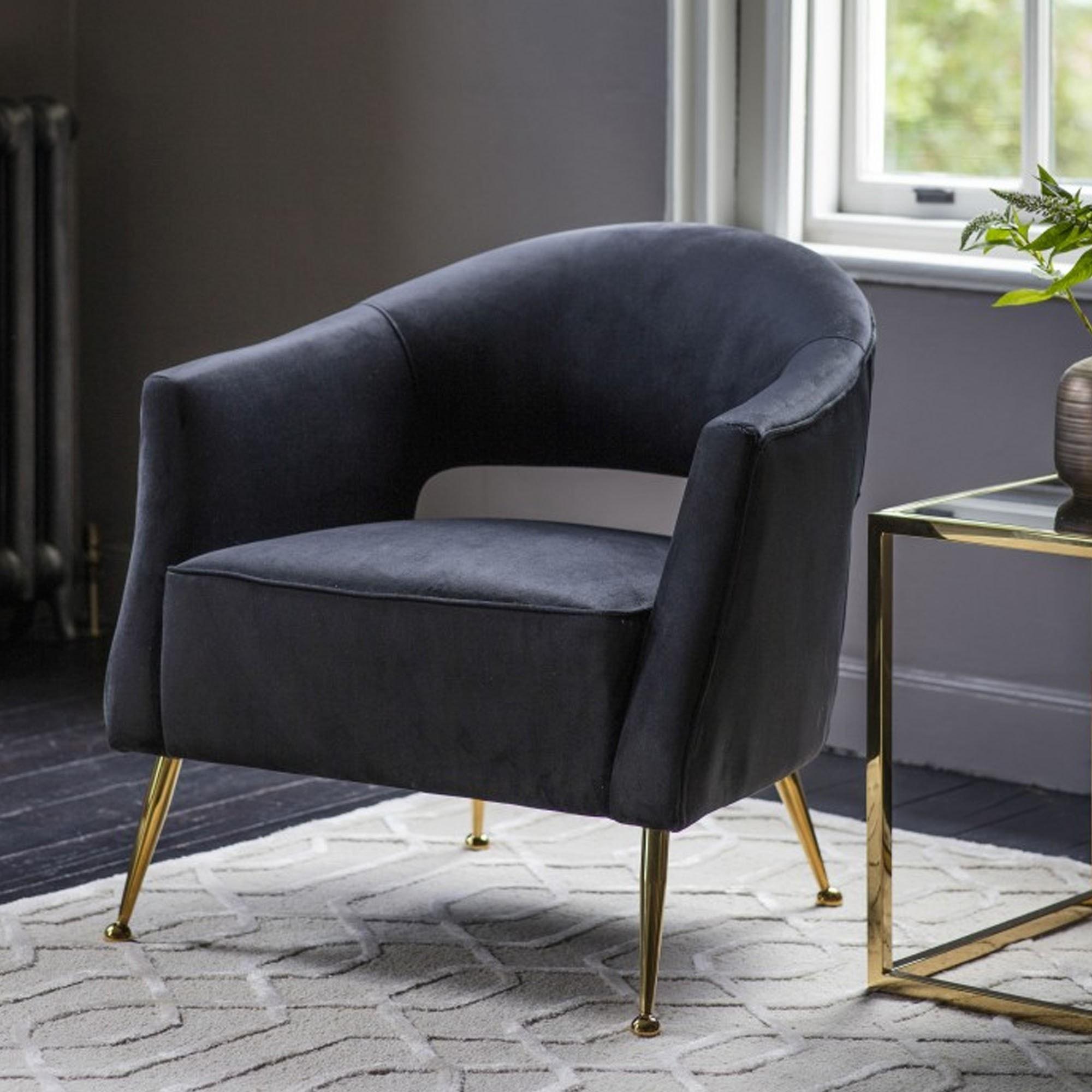 Barletta Armchair Black Velvet Velvet Arm Chair Velvet Tub Chair