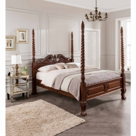 Barley Twist Mahogany Four Poster Antique French Style Bed