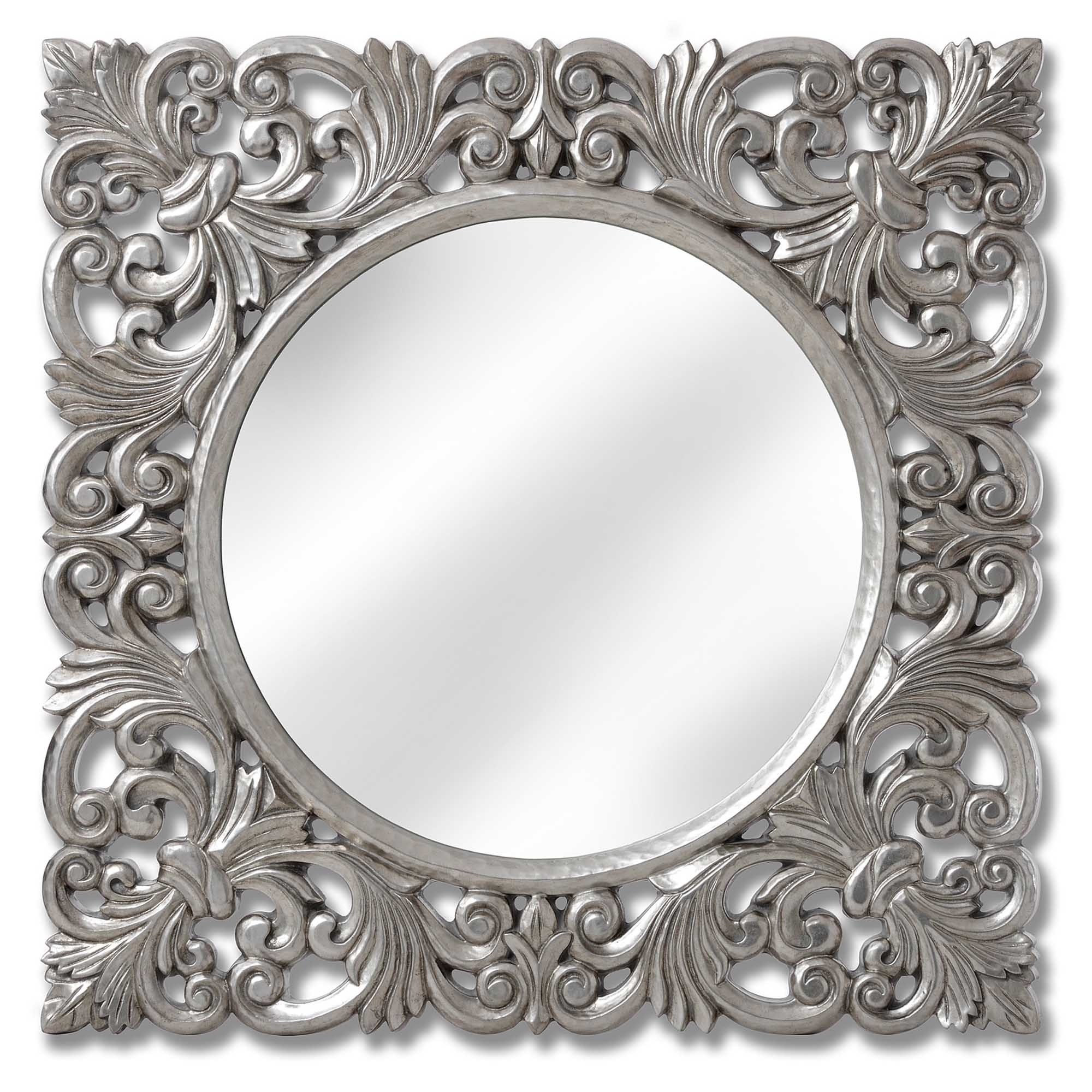 baroque antique french style silver wall mirror