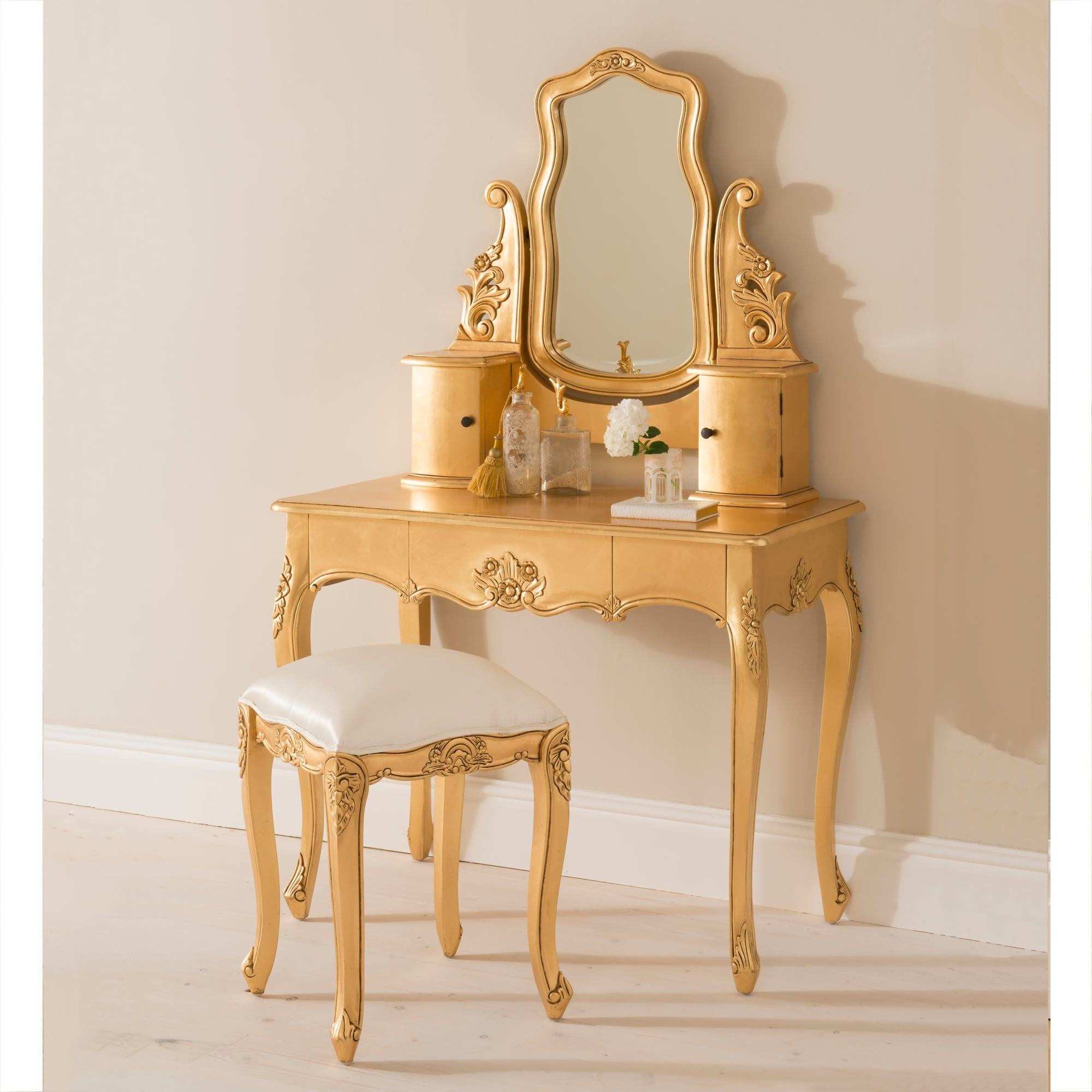 Baroque gold leaf antique french dressing table set for Deco baroque